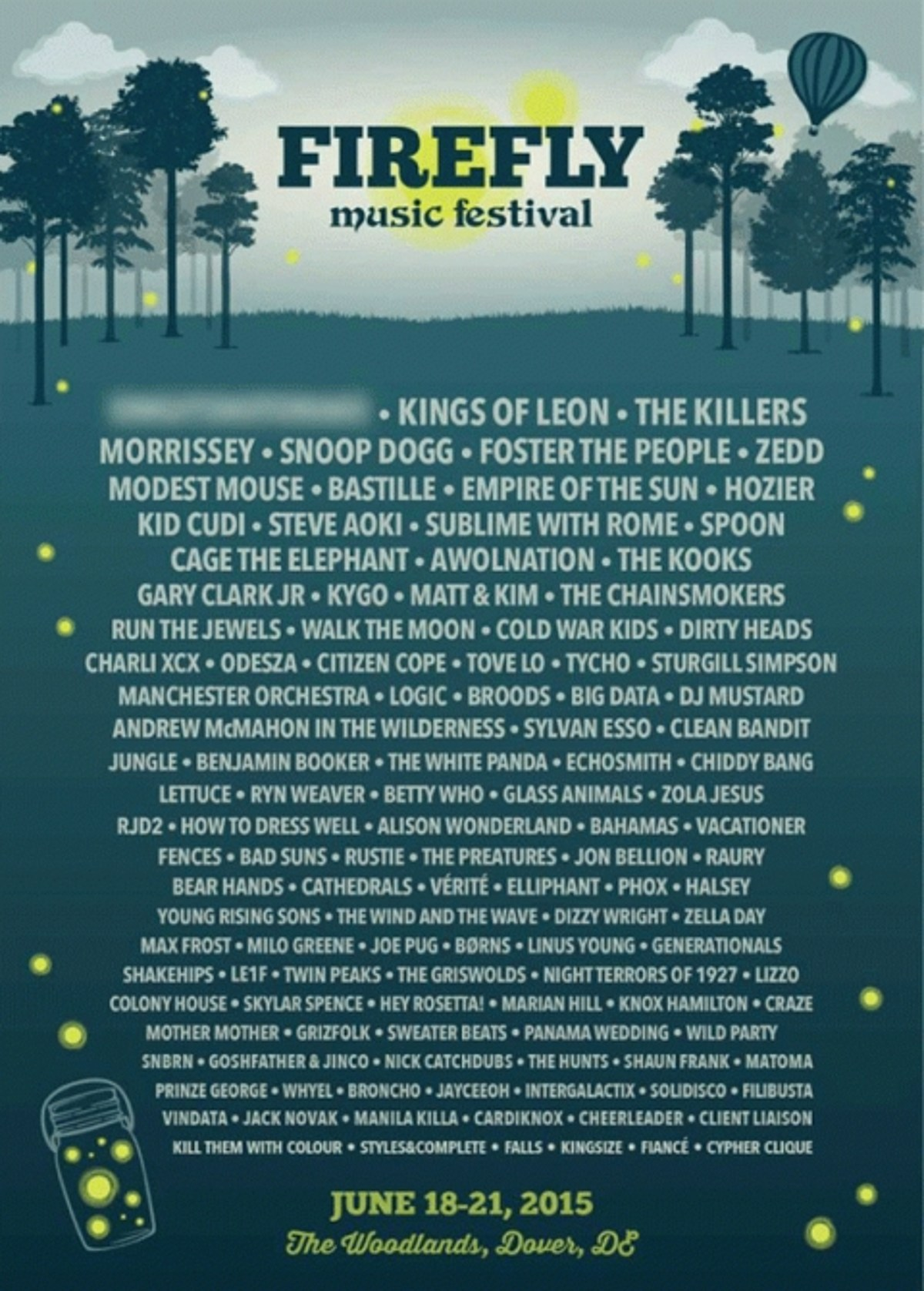 225a82860173 Firefly Music Festival 2015 lineup (Kings of Leon, The Killers, Morrissey,  Modest Mouse, Spoon, Run the Jewels & more)