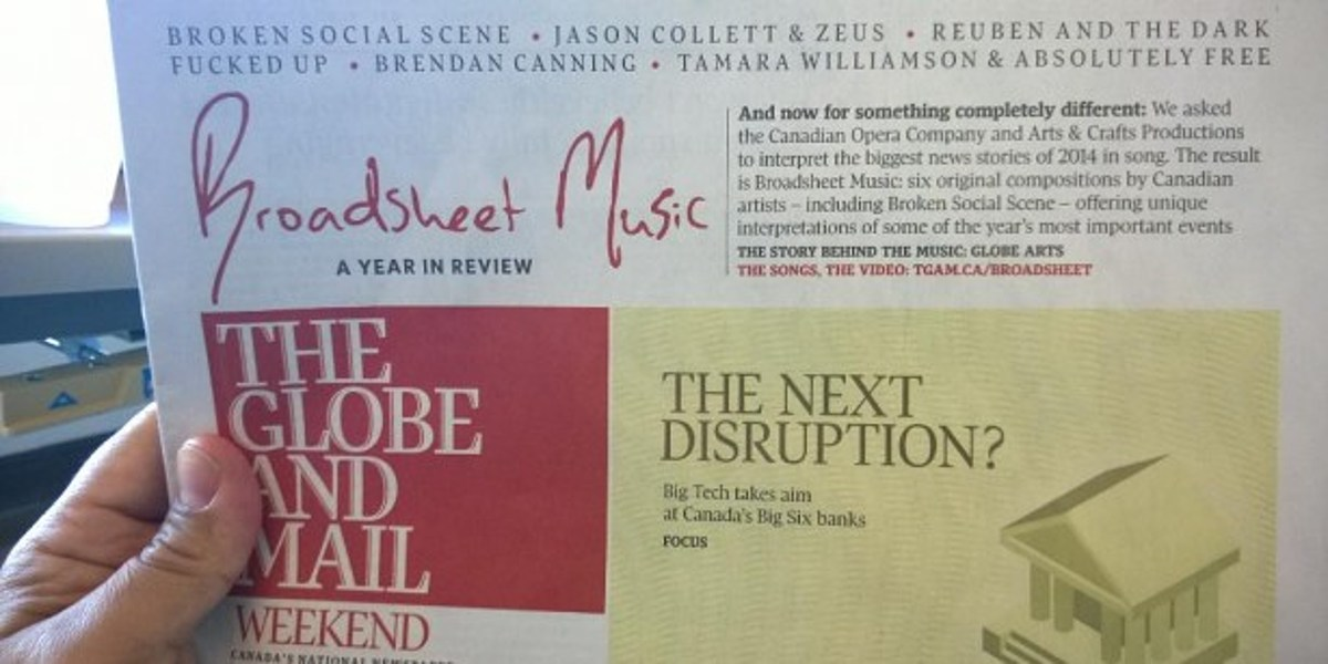 Globe and Mail' paper writes 'Fucked Up' on front page