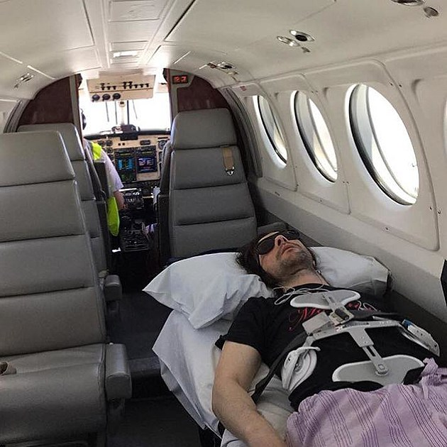 Bobby Gilespie on his way home after his fall (via Primal Scream facebook)