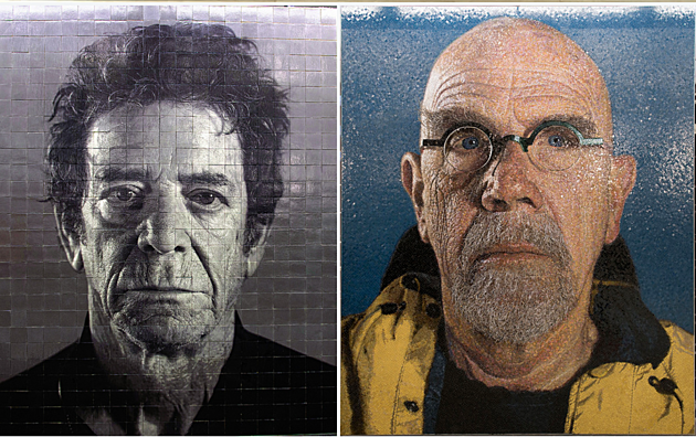 Lou Reed & Chuck Close portraits at the 86th St. W stop (photo courtesy The MTA)