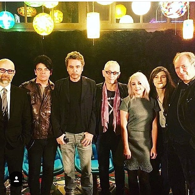 Jean-Michel Jarre and friends about to talk.