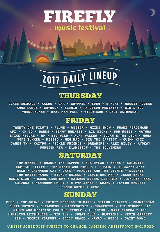 Firefly Festival 2020.Firefly Music Festival 2017 Daily Lineups Single Day Tickets