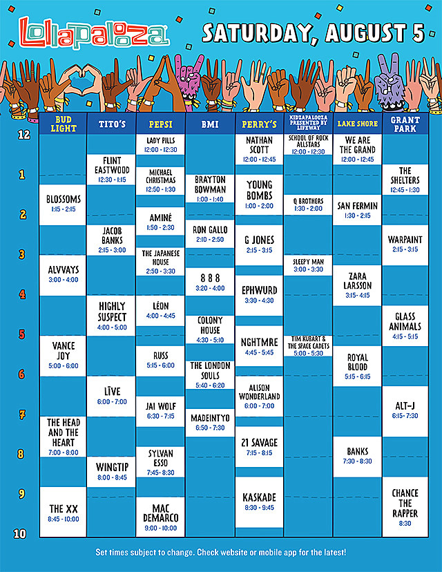 Lollapalooza Saturday Schedule