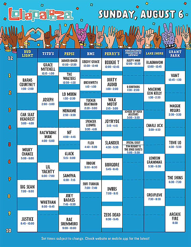 Lollapalooza Sunday Schedule