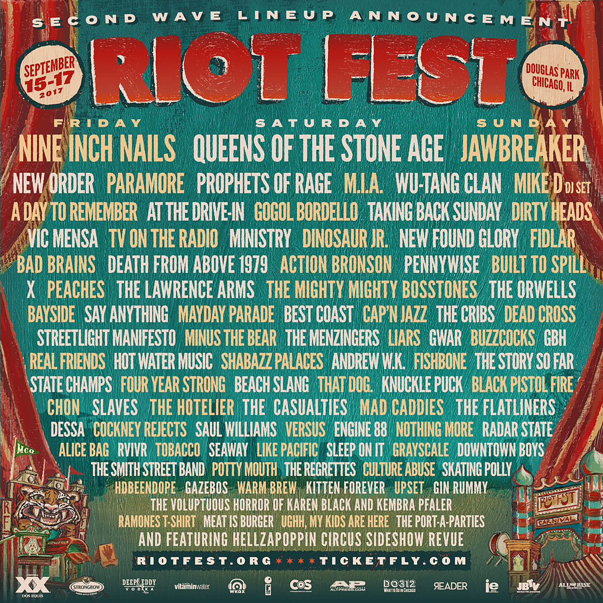 Riot Fest 2017 adds Cap'n Jazz, At the Drive In, Cockney Rejects, Best Coast, more