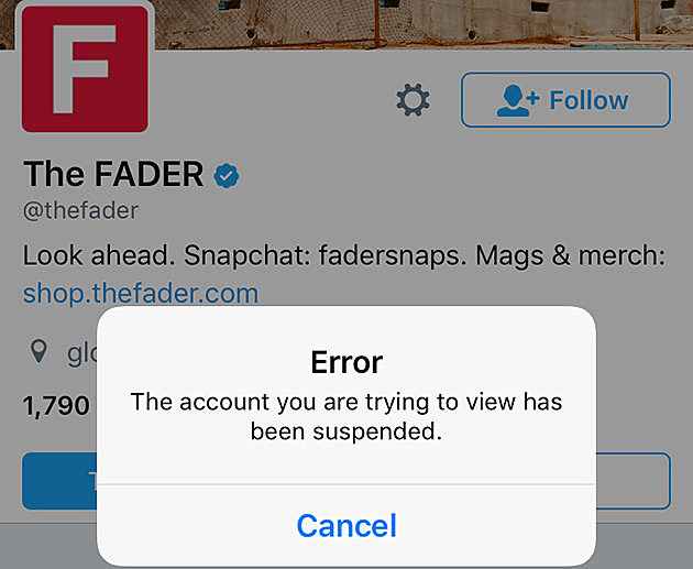 The Fader suspended from twitter