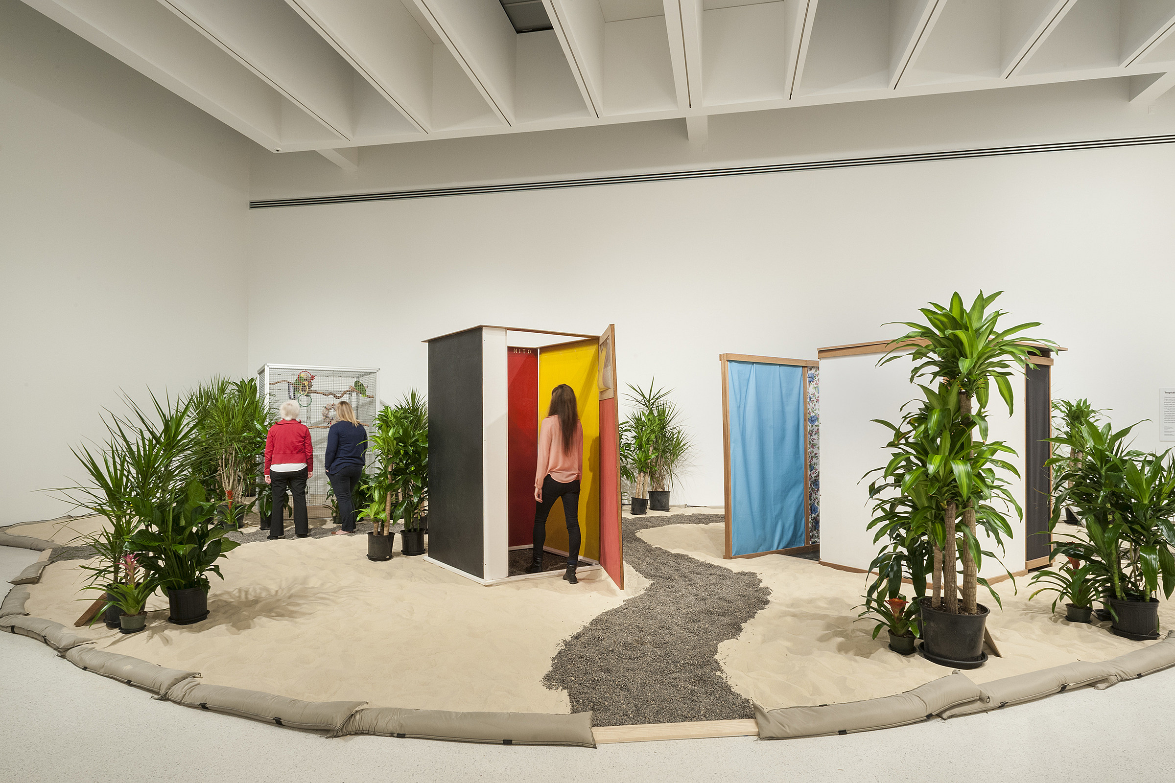 Hélio Oiticica (b. 1937), Tropicália, 1966–67. Plants, sand, birds, and poems by Roberta Camila Salgado. César and Claudio Oiticica Collection, Rio de Janeiro. © César and Claudio Oiticica, Rio de Janeiro. Image courtesy Carnegie Museum of Art, Pittsburgh. Photograph by Bryan Conley
