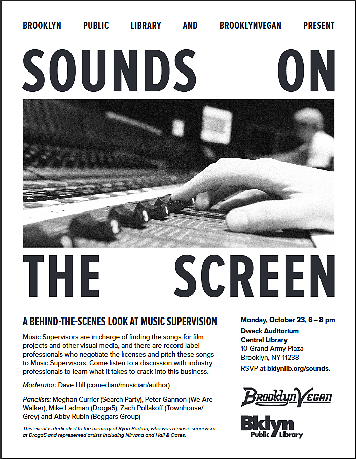 FREE: a panel of music supervisors at Brooklyn Public