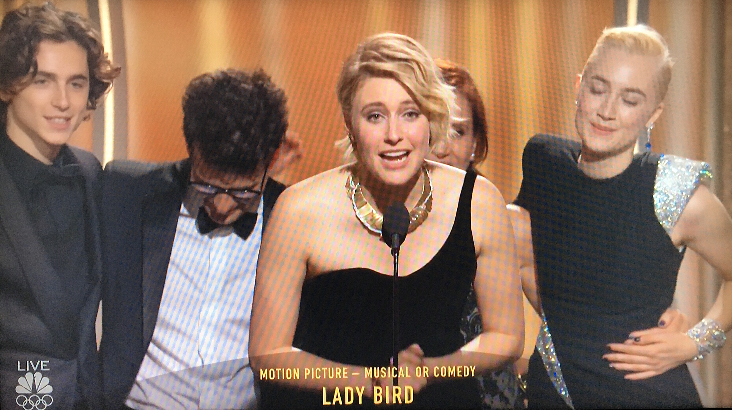 Greta Gerwig accepting for 'Lady Bird'