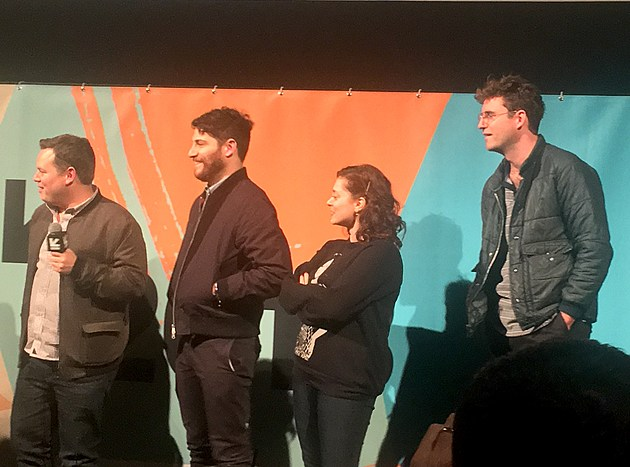 Cast and crew of Most Likely to Murder: Director Dan Gregor, Adam Pally, Rachel Bloom, John Reynolds