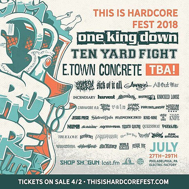 This Is Hardcore 2018 lineup (One King Down, Ten Yard Fight