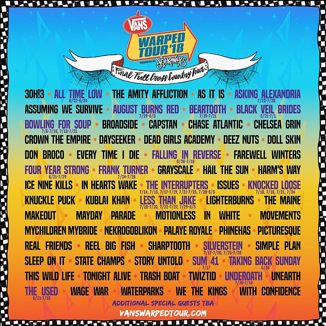 Warped Tour Band List