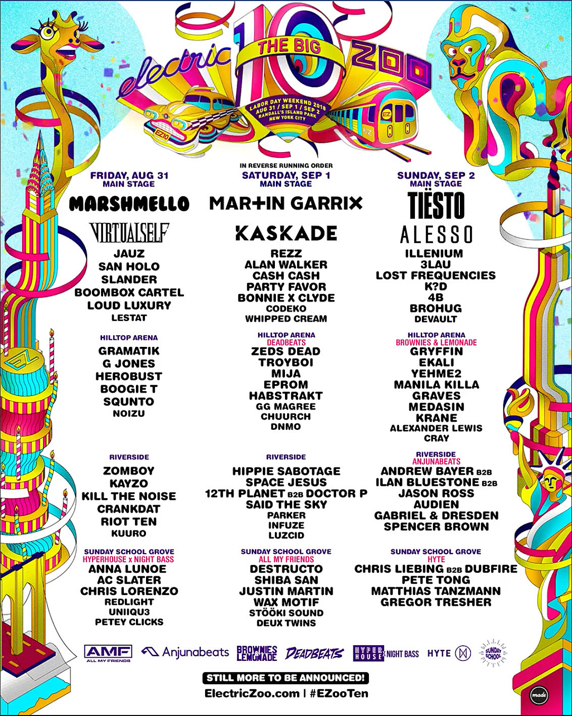 electric zoo 2018 daily lineups