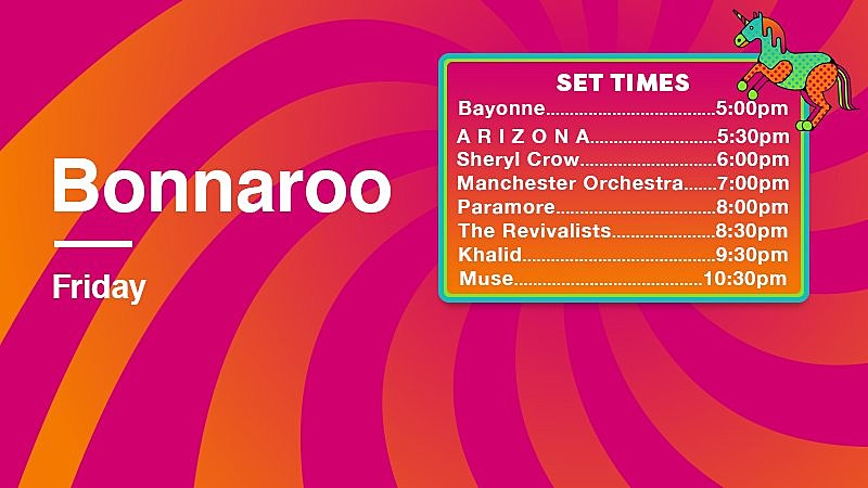 Bonnaroo 2018 Friday Streaming Schedule