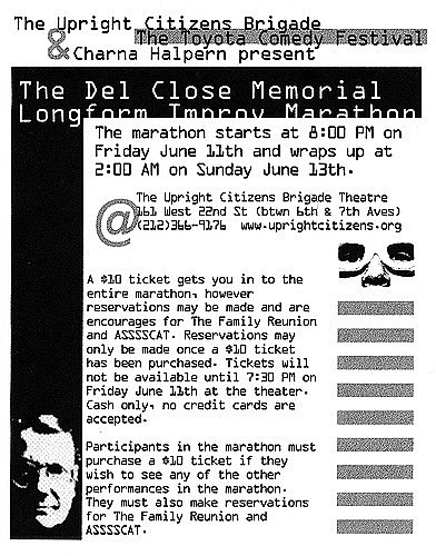 The poster for the original Del Close Marathon