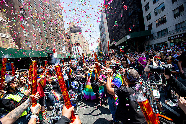 Photo of NYC street during Pride Parade 2018