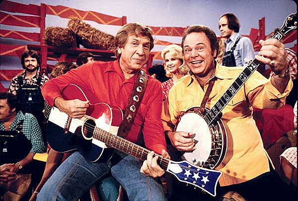 Roy Clark (L), with Buck Owens,  on 'Hee-Haw'