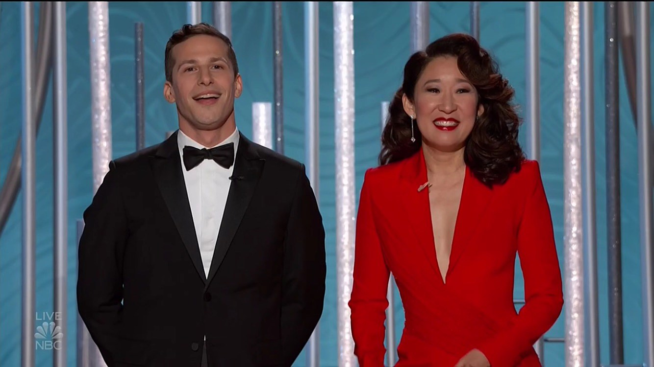 2019 Golden Globes Awards hosts Andy Samberg and Sandra Oh (who also won for 'Killing Eve')