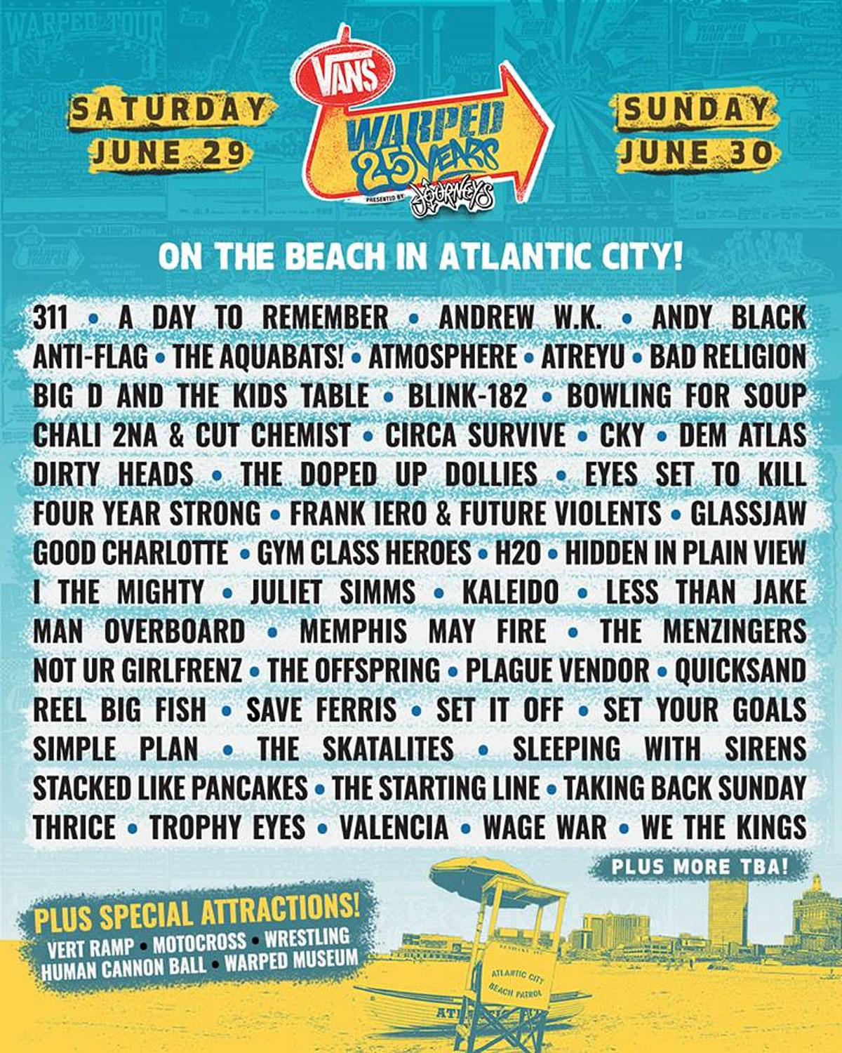 Warped Tour 2019 lineup (Jawbreaker, blink-182, Bad Religion, Quicksand, Glassjaw, Offspring, more)