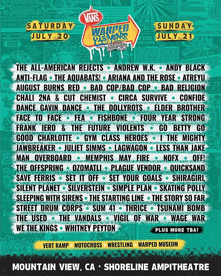 Vans Warped Tour Lineup 2020.Warped Tour 2019 Lineup Jawbreaker Blink 182 Bad Religion