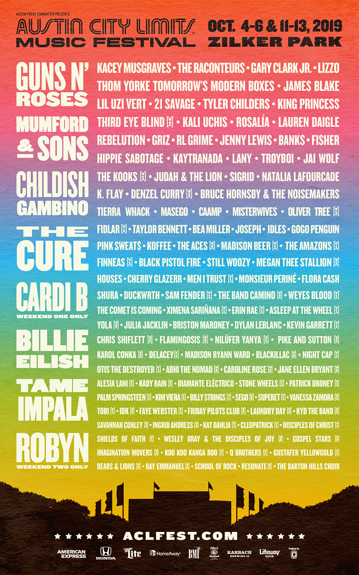 ACL Fest announces 2019 schedule (Guns N' Roses vs Tame Impala)