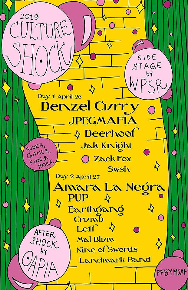 Suny Purchase Calendar 2019 SUNY Purchase Culture Shock 2019 lineup (PUP, Denzel Curry