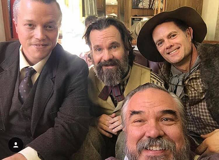 Jason Isbell on the set of Deadwood with Sean Bridgers, W. Earl Brown...and is that Garret Dillahunt? (photo via Athens Music Collective)