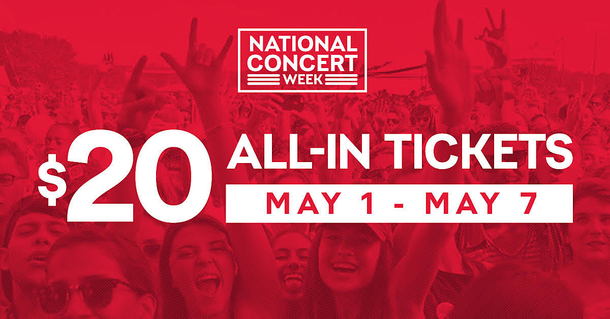 Live Nation's $20 all-in ticket promotion to nearly 3000 shows starts today