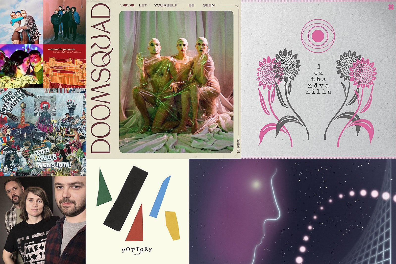 indie basement: pottery, mammoth penguins, death and vanilla, doomsquad, the mystery lights, missions,