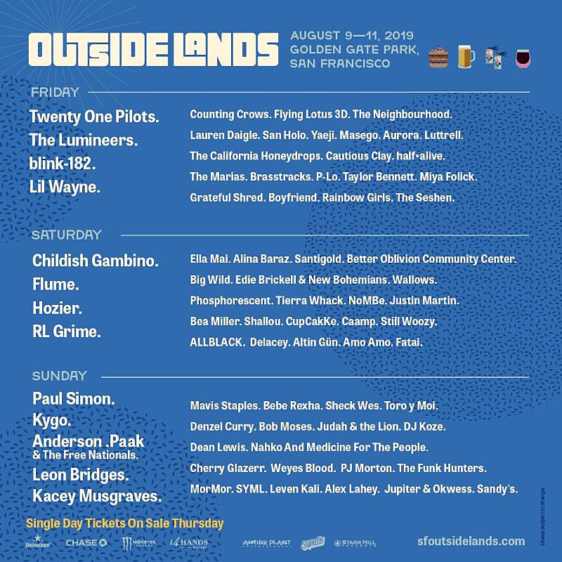 Outside Lands 2019 Schedule Outside Lands 2019 reveals daily lineups & single day ticket info