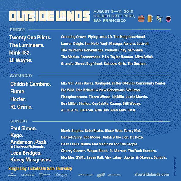 2020 Outside Lands Music And Arts Festival Lineup.Outside Lands 2019 Reveals Daily Lineups Single Day Ticket