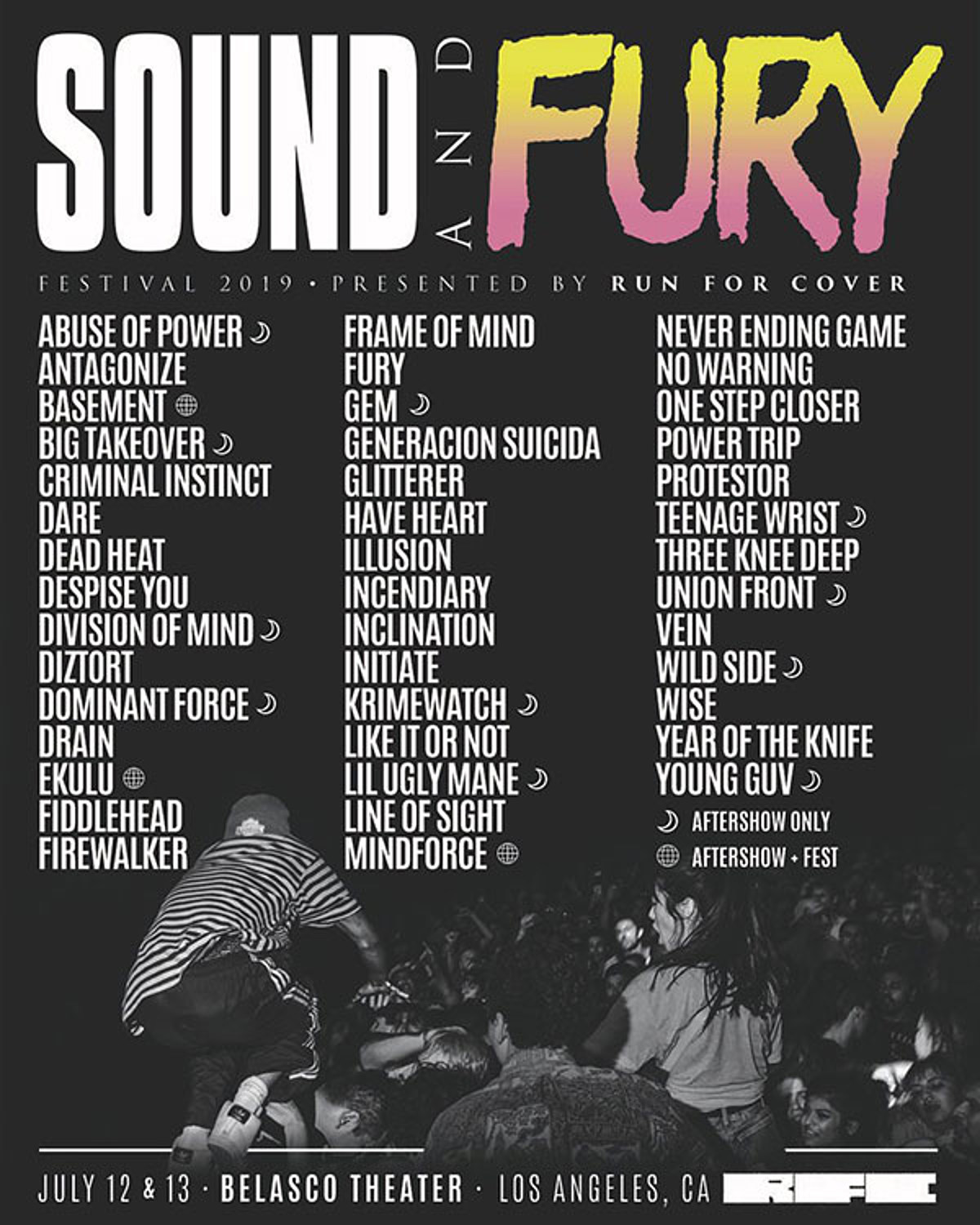 Sound Fury 2019 full lineup (Vein, No Warning, Year of the Knife, Glitterer, more)