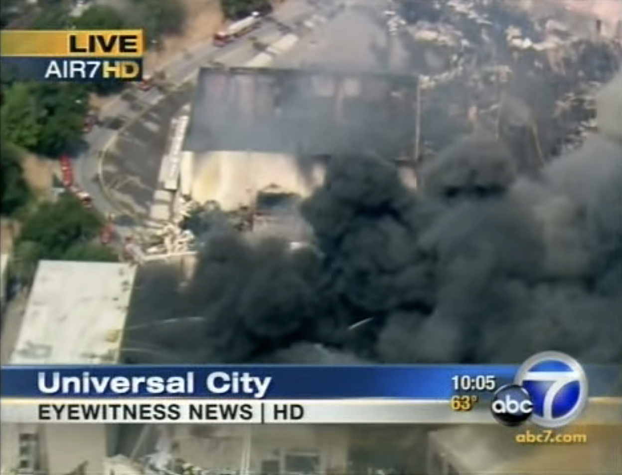 ABC 7 reporting the Universal vault fire in 2008