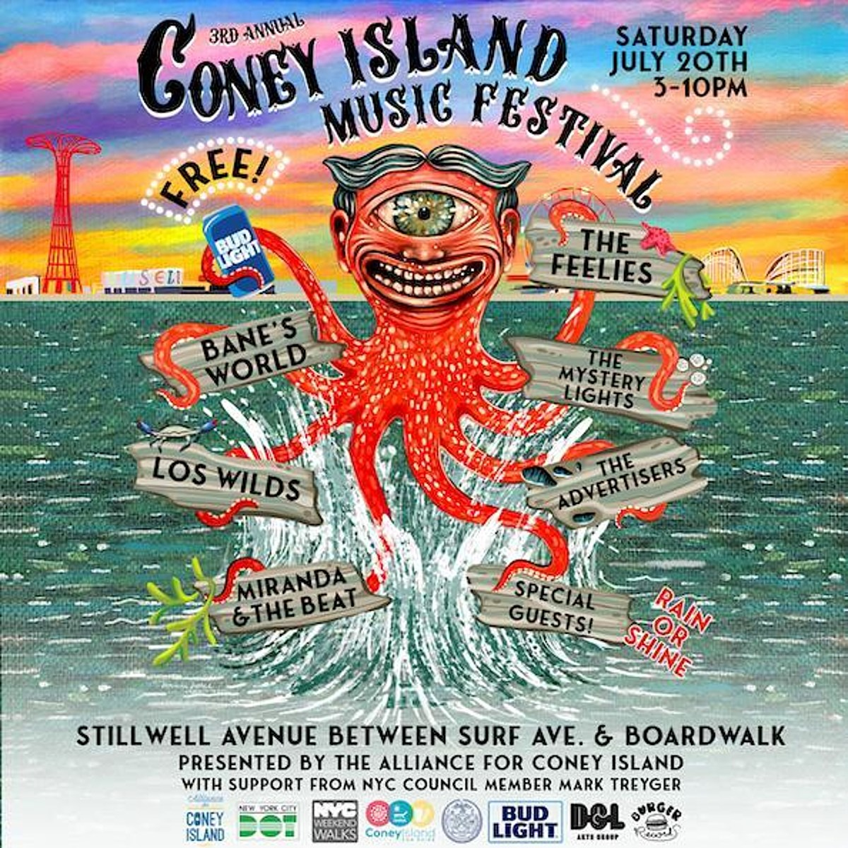 2019 free Coney Island Music Festival initial lineup The Feelies, Mystery Lights, more