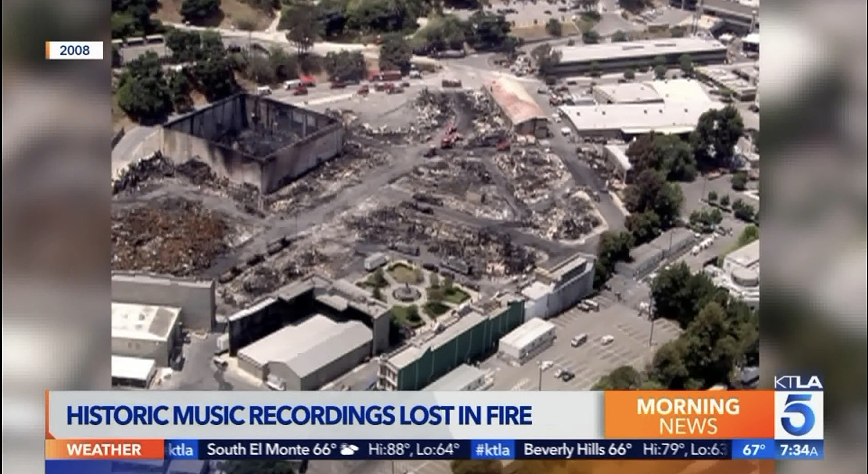 KTLA reporting on the fire