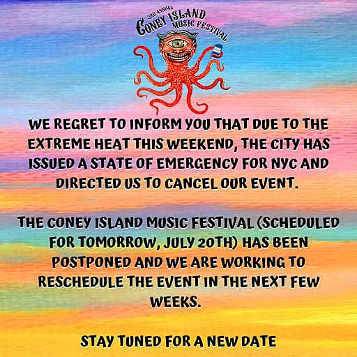 Coney Island Music Festival also canceled due to heatwave
