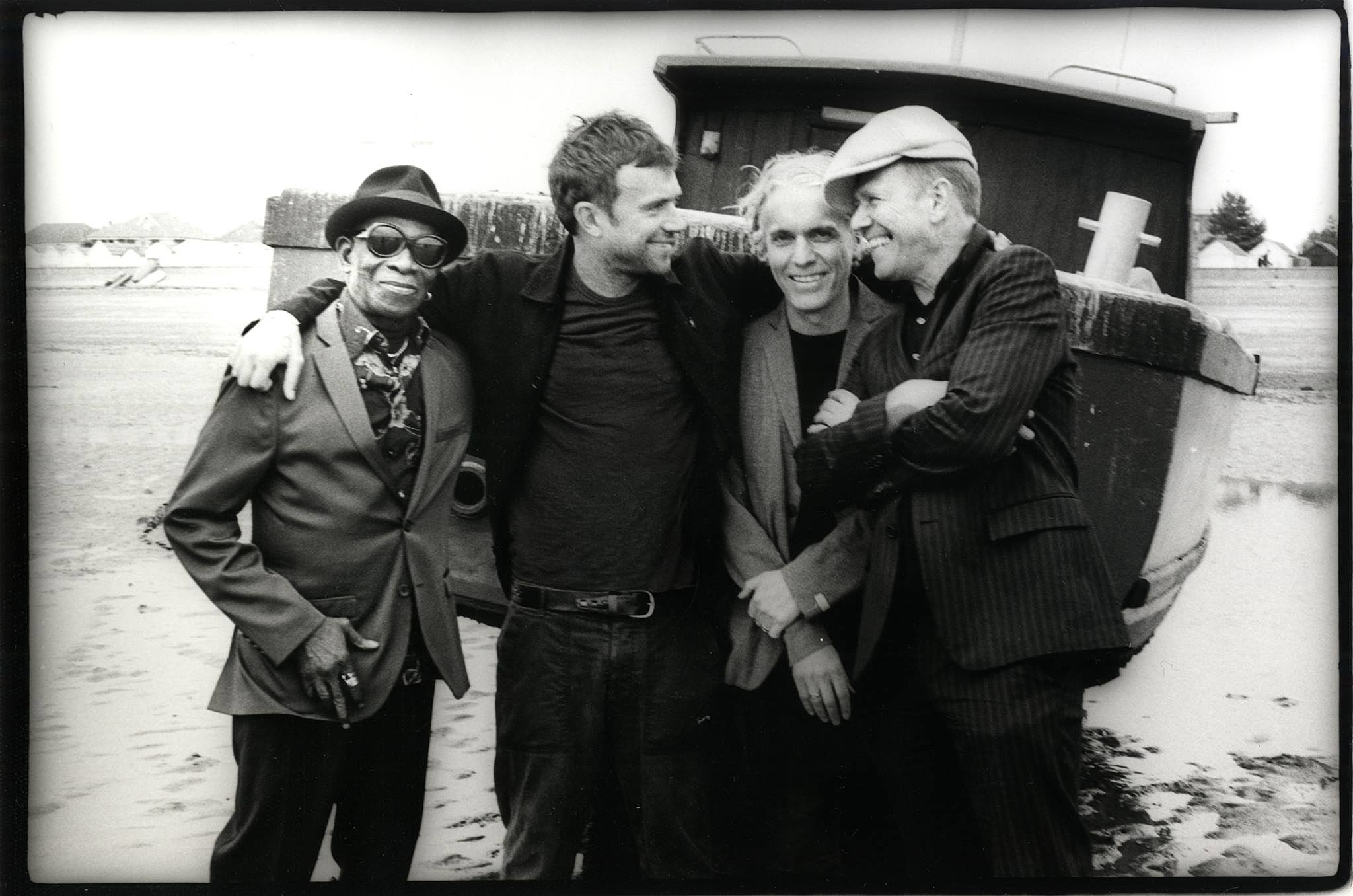 Damon Albarn (2nd from left) and Paul Simonon (right) with The Good The Bad & The Queen