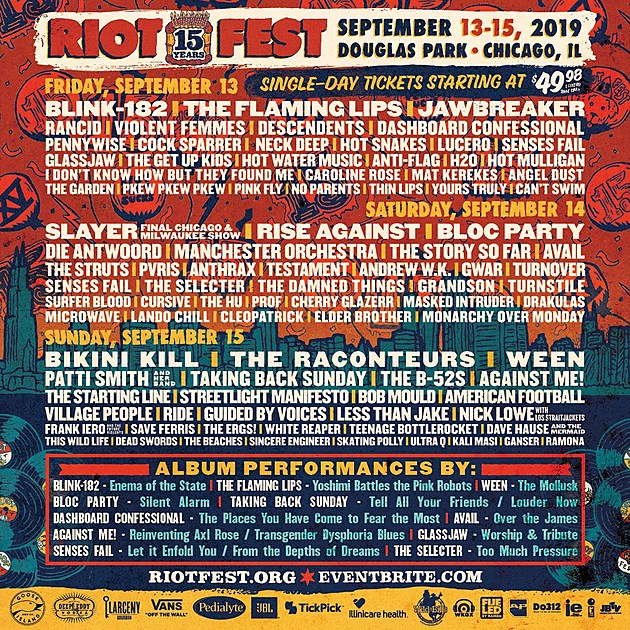 Riot Fest 2019 daily lineups revealed, 1-day & 2-day tickets