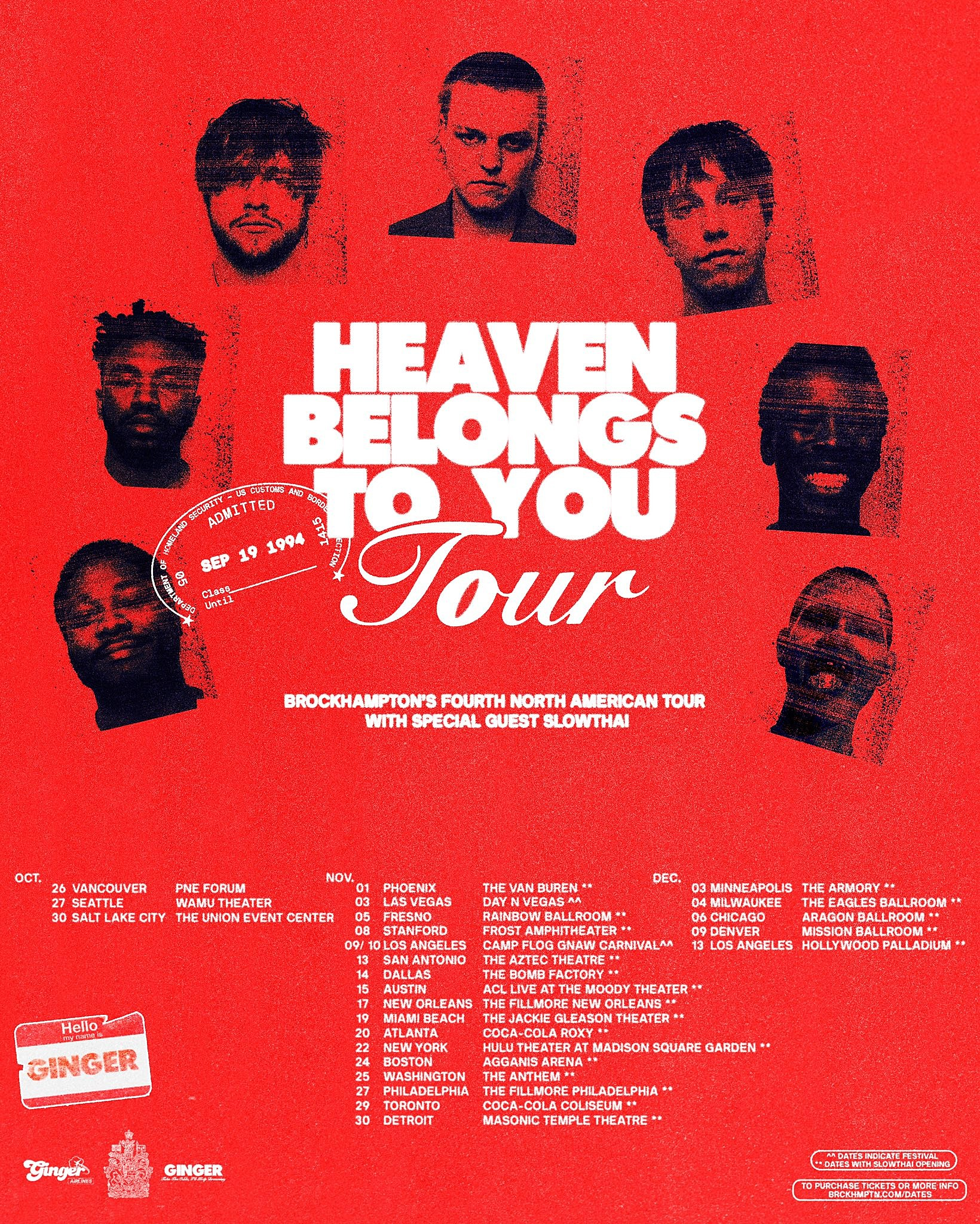 Brockhampton - Heaven Belongs to You tour