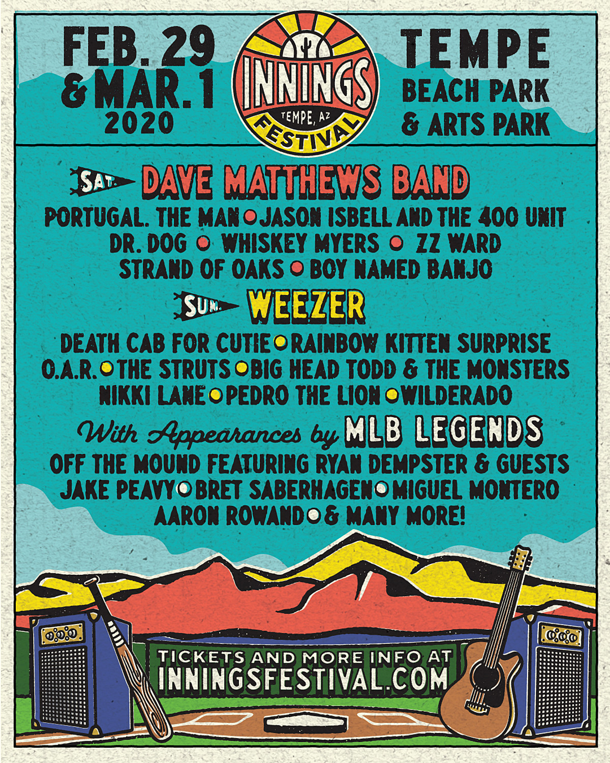 Innings Festival 2020 lineup: Weezer, Dave Matthews, Death Cab, Portugal The Man, more