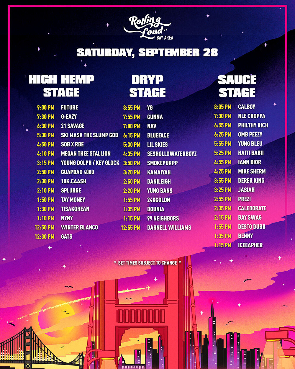 Rolling Loud Bay Area 2019 - Saturday set times