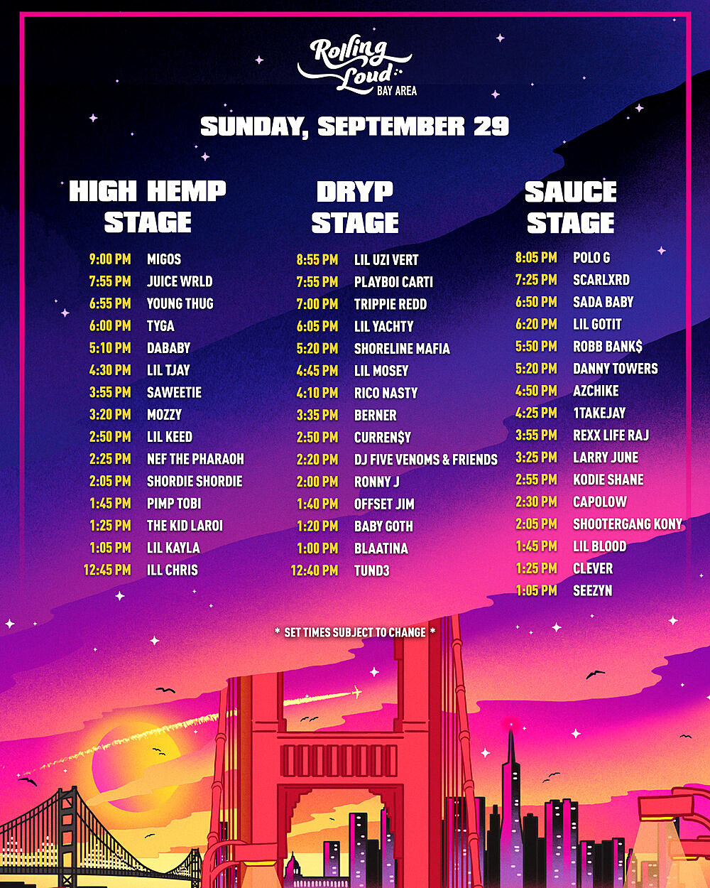 Rolling Loud Bay Area 2019 - Sunday set times