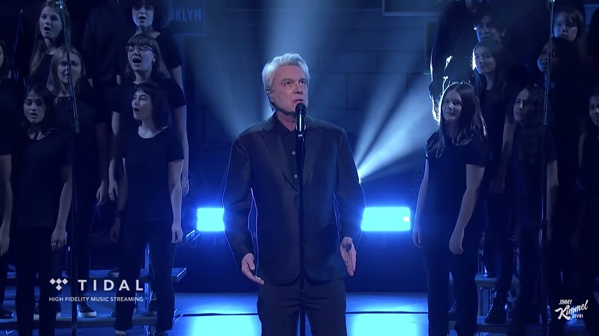 David Byrne played 'Kimmel' w/ Brooklyn Youth Chorus, extends Broadway run