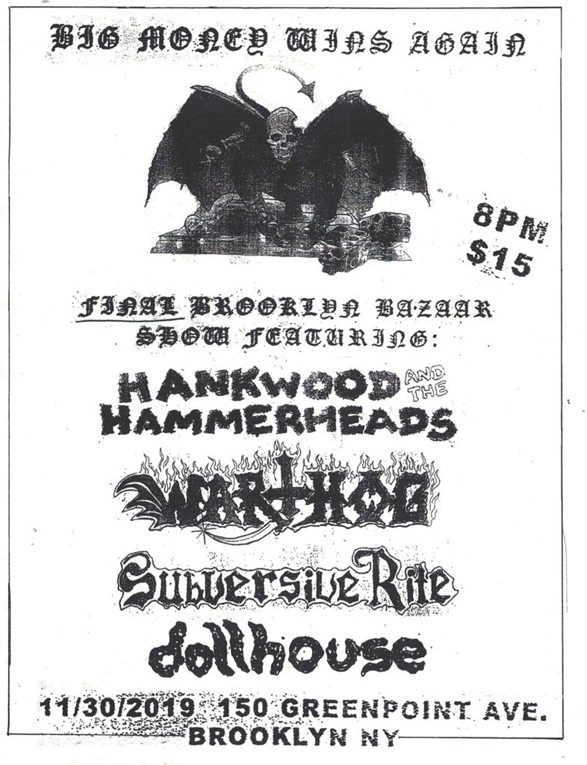 Brooklyn Bazaar announces final show with Hank Wood, Warthog more