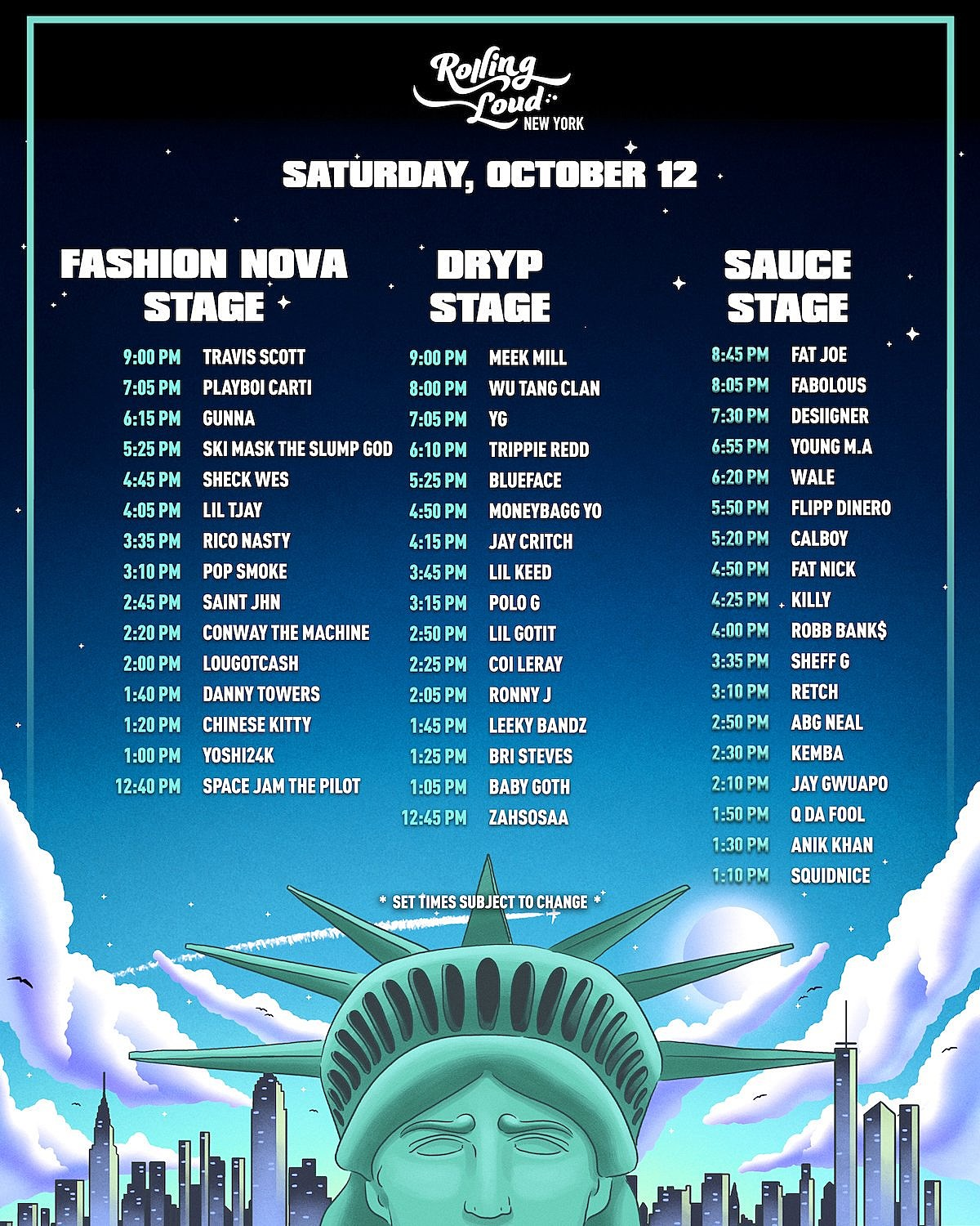 Rolling Loud NYC 2019 Set Times Saturday