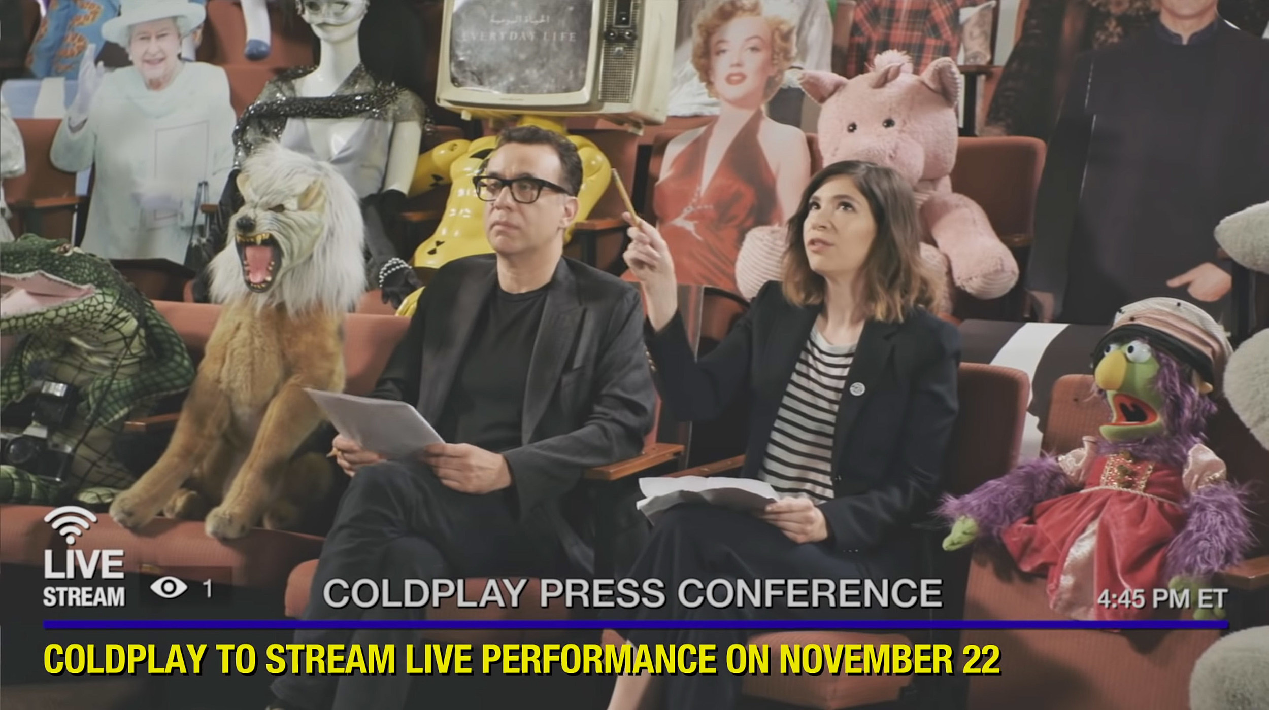 Coldplay Press Conference with Carrie Brownstein and Fred Armisen