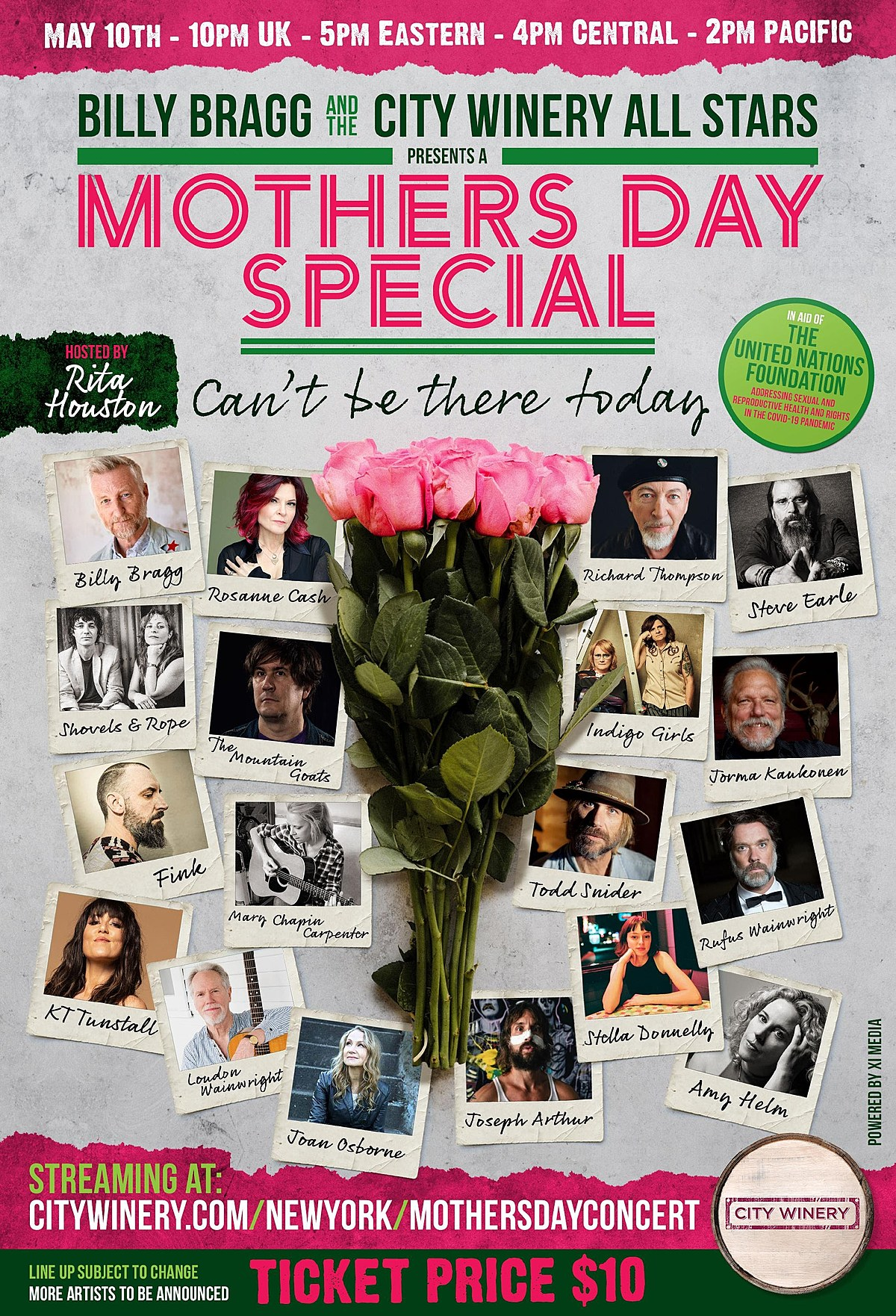 Billy Bragg, Rufus Wainwright, Mountain Goats, Rosanne Cash more playing Mother's Day livestream benefit