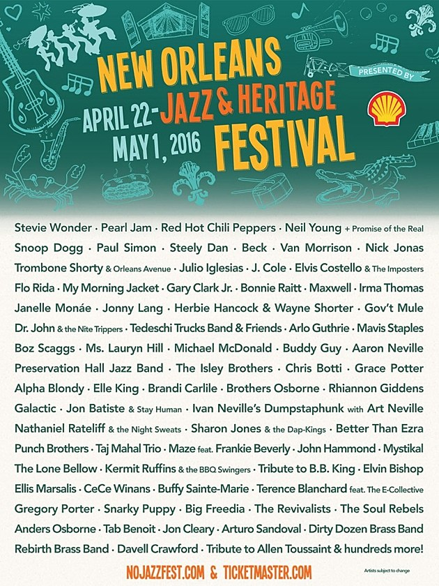 May Calendar New Orleans : New orleans jazz fest lineup neil young paul simon