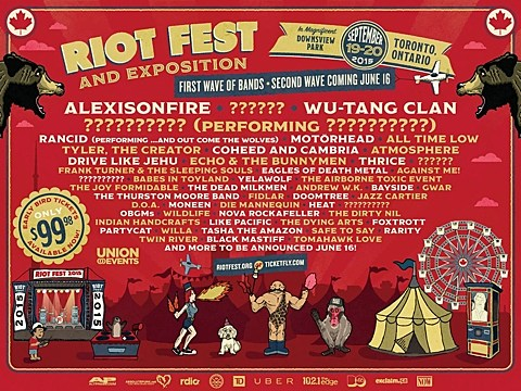 Riot Fest Toronto 2015 lineup: Wu-Tang, Rancid, Motorhead