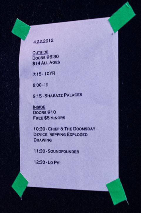 10YR @ Mohawk - 4/22/2012
